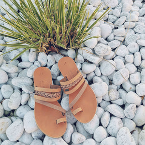 Leather handmade sandal nude brown