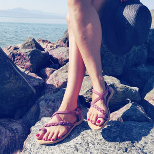 Leather handmade sandal purple
