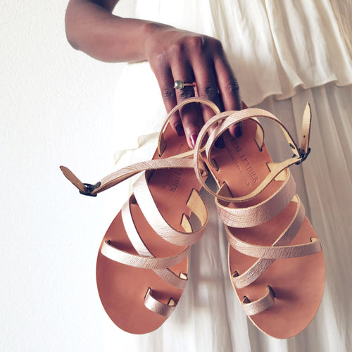 Leather handmade sandal gold