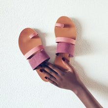 Load image into Gallery viewer, Leather handmade sandal pink