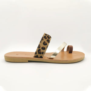Leather handmade sandal gold brown leopard