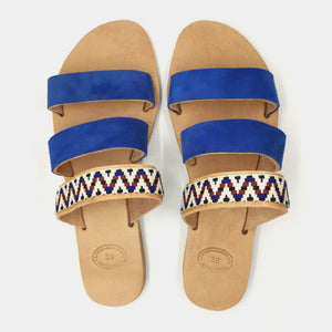 Leather handmade sandal blue white