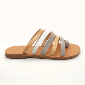 Leather handmade sandal white gray