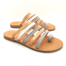 Load image into Gallery viewer, Leather handmade sandal white gray
