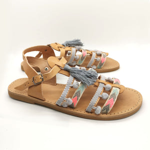 Leather handmade sandal nude gray pink