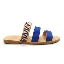 Load image into Gallery viewer, Leather handmade sandal blue white