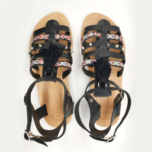 Leather handmade sandal black