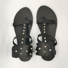 Load image into Gallery viewer, Leather handmade sandal black studs