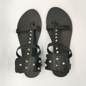 Leather handmade sandal black studs