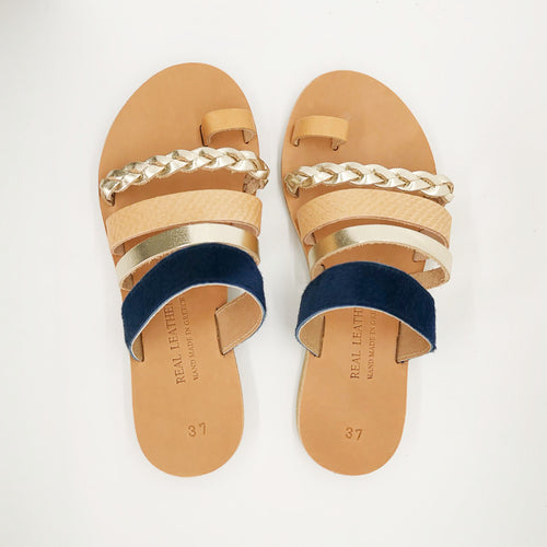 Leather handmade sandal gold blue