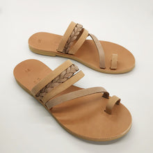 Load image into Gallery viewer, Leather handmade sandal nude brown