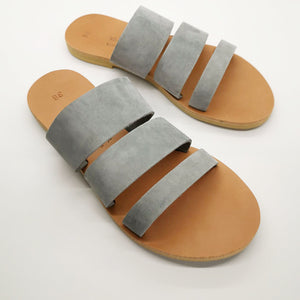 Leather handmade sandal gray