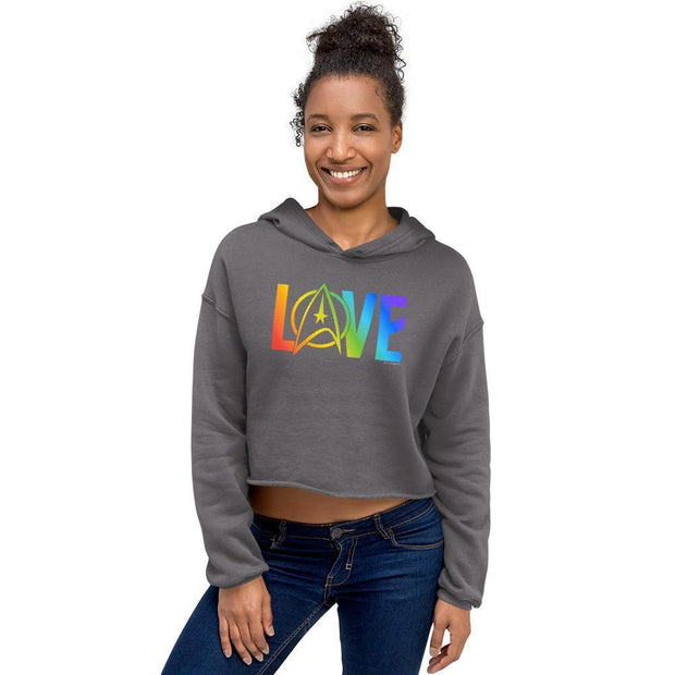 Star Trek: The Original Series Pride Love Women's Fleece Crop Hooded Sweatshirt