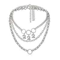 '222' chunky rhinestones number necklace - CURATED by FS