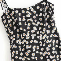 Floral midi dress with tie spaghetti straps - CURATED by FS