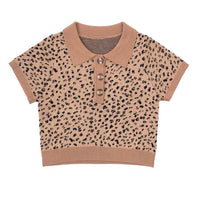 Leopard print knit polo shirt - CURATED by FS