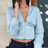 Baby blue V neck blouse - CURATED by FS