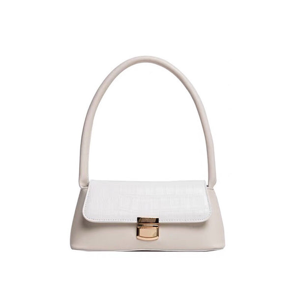 Trapeze buckle shoulder bag in white - CURATED by FS