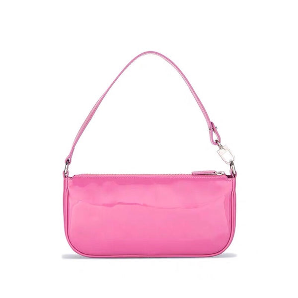 Pink vinyl 90s shoulder bag - CURATED by FS