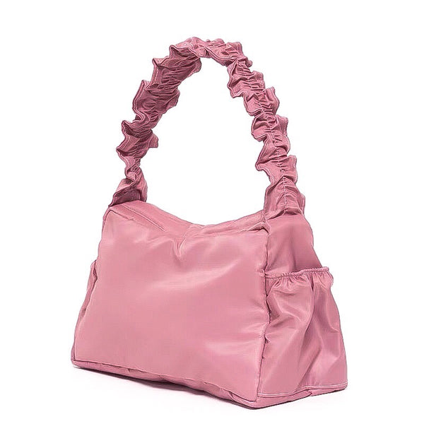 Nylon ruffle shoulder bag in rose pink - CURATED by FS