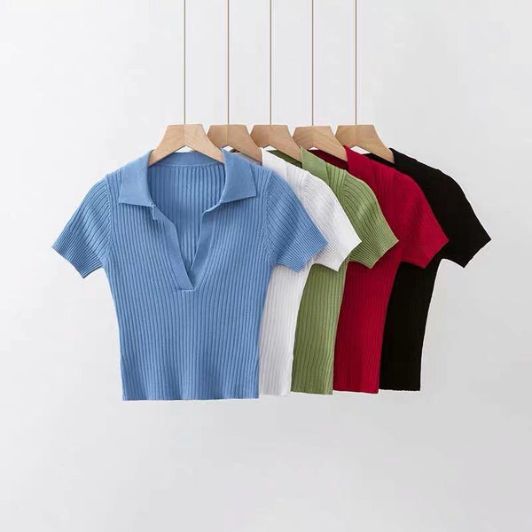 Knit V neck polo shirt - CURATED by FS