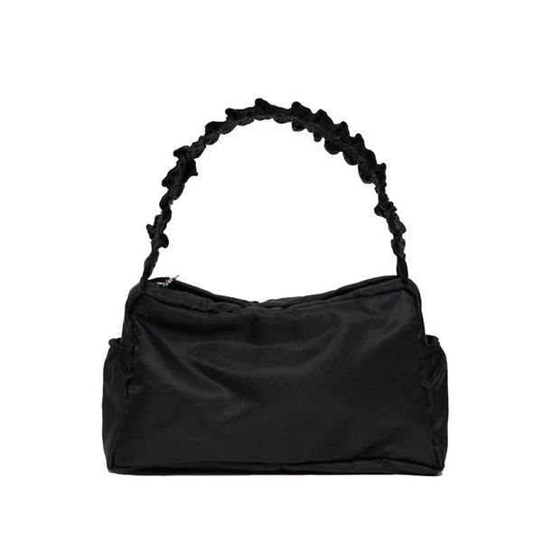 Nylon ruffle shoulder bag in black - CURATED by FS