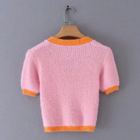 Mohair crop cardigan in pink - CURATED by FS