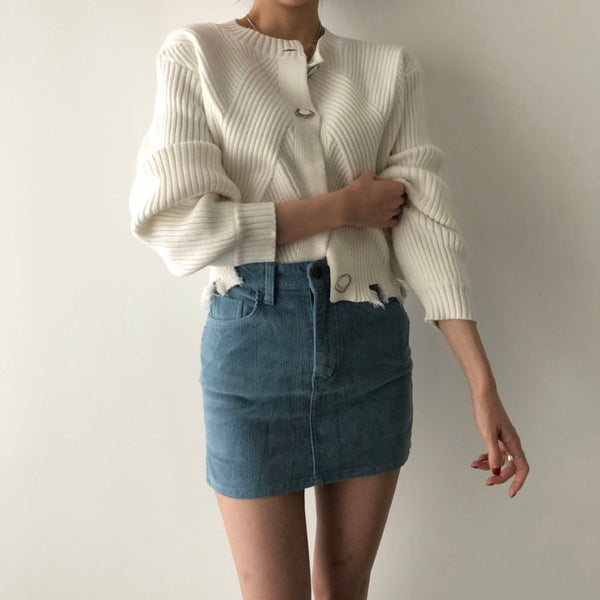 Raw hem crew neck cardigan - CURATED by FS