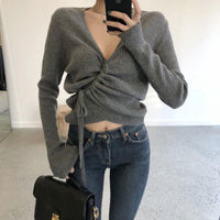 Grey V neck ribbed drawstring jumper - CURATED by FS