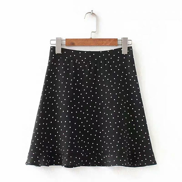 Polka dots print summer mini skirt - CURATED by FS