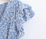 Ruffle sleeves floral print dress - CURATED by FS
