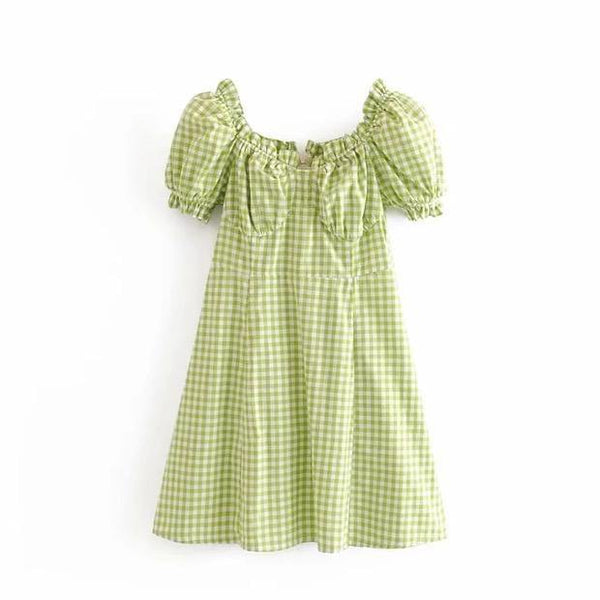 Checked puff sleeves babydoll dress - CURATED by FS