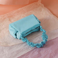 Nylon ruffle shoulder bag in aqua - CURATED by FS