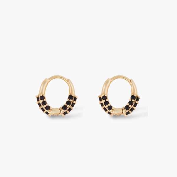 Black enamel gold huggie earrings (more color) - CURATED by FS