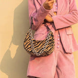 Zebra print crescent shoulder bag with chain - CURATED by FS