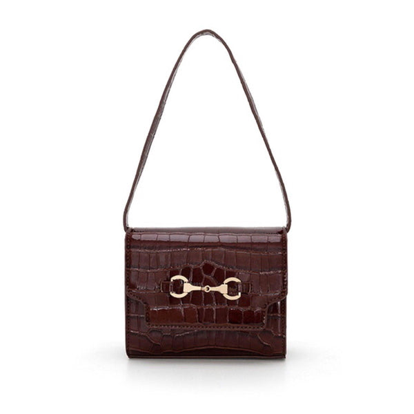 Croc effect oxford shoulder bag in red - CURATED by FS