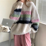 Cream mohair striped sweater