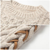 Beige cable knit sweater with lace up sleeves