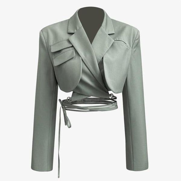 Sage crop blazer with tie details