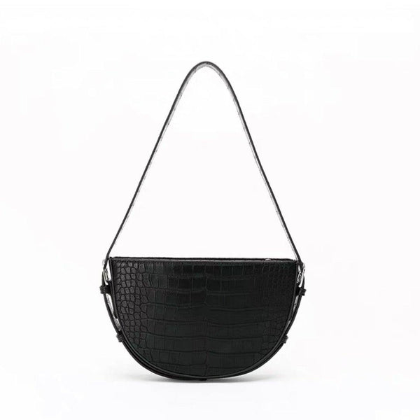 Half moon buckle strap shoulder bag in black croc - CURATED by FS