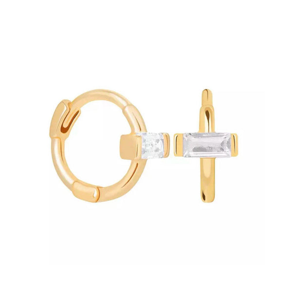 Mini CZ bar gold plated huggie earrings (more colors)