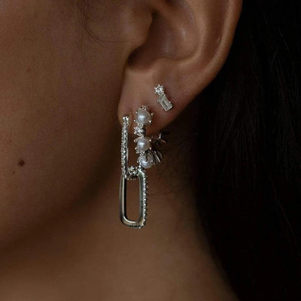 Platinum plated cz links earrings - CURATED by FS