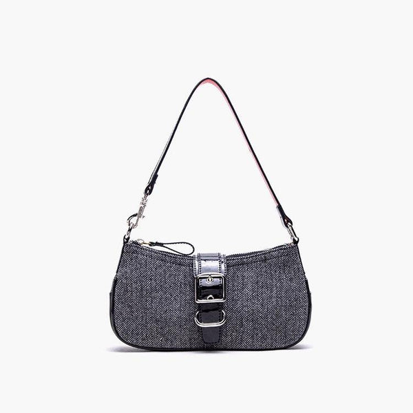 Tweed buckle shoulder bag - CURATED by FS