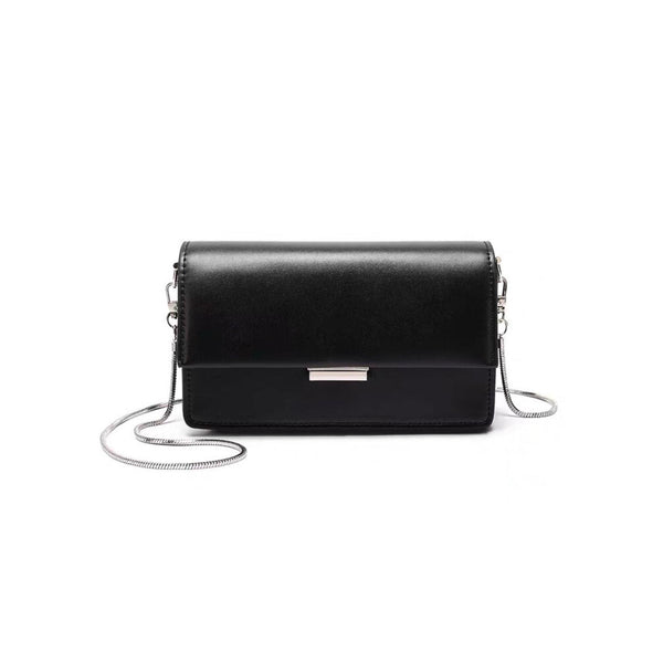 Black crossbody bag with snake chain strap - CURATED by FS