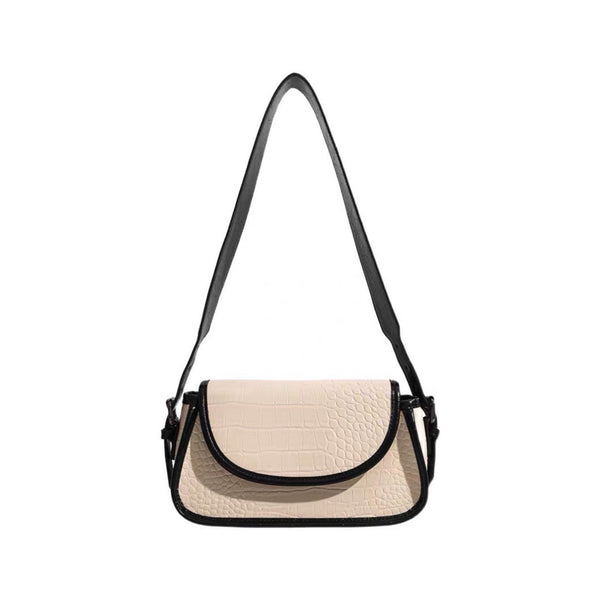 Cream croc effect shoulder bag