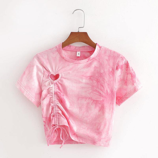 Pink heart cutout tie dye t shirt - CURATED by FS