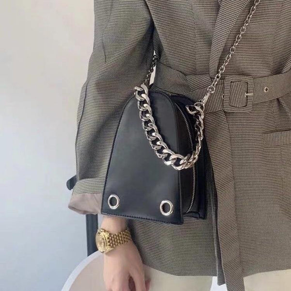 Half moon bag with chain in black (more color) - CURATED by FS