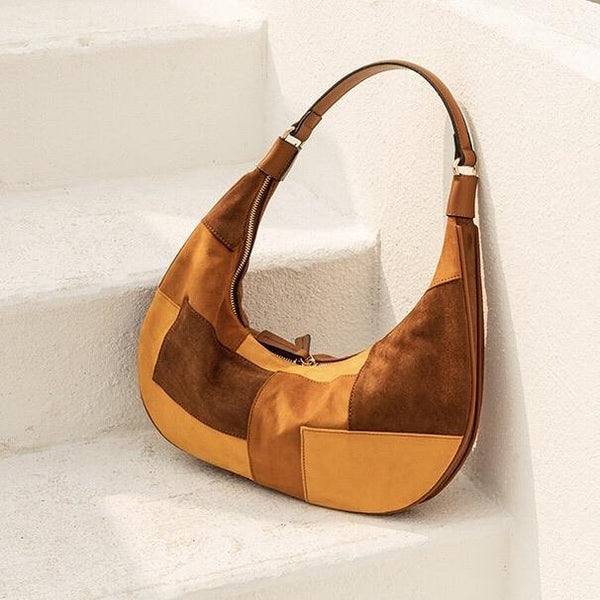 Patchwork shoulder bag in brown - CURATED by FS