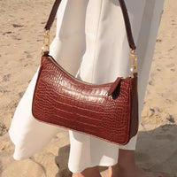 Curve top croc effect 90s bag - CURATED by FS