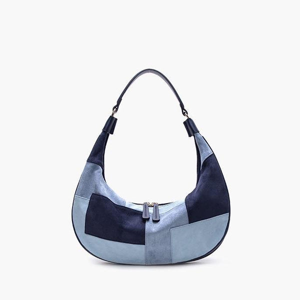 Patchwork shoulder bag in blue - CURATED by FS